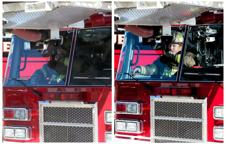 Commercial Photography Firefighter Without and With Flash