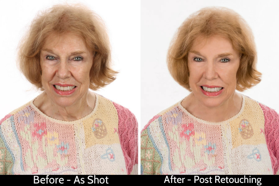 Before and After Of Lady In Sweater