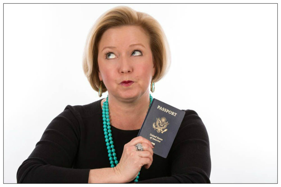 Funny Headshot of Woman with Passport Taken in Raleigh NC 2