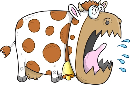 Mad Cow Vector Illustration Art