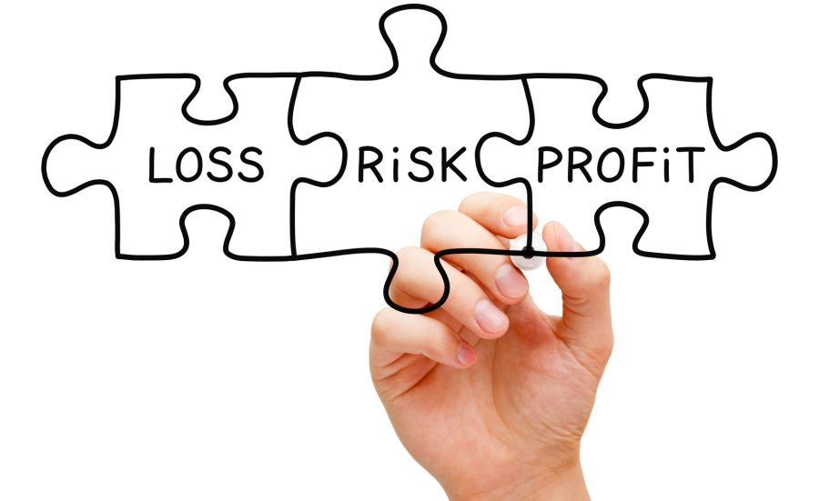 Hand drawing Risk Loss Profit puzzle concept with black marker on transparent wipe board isolated on white.